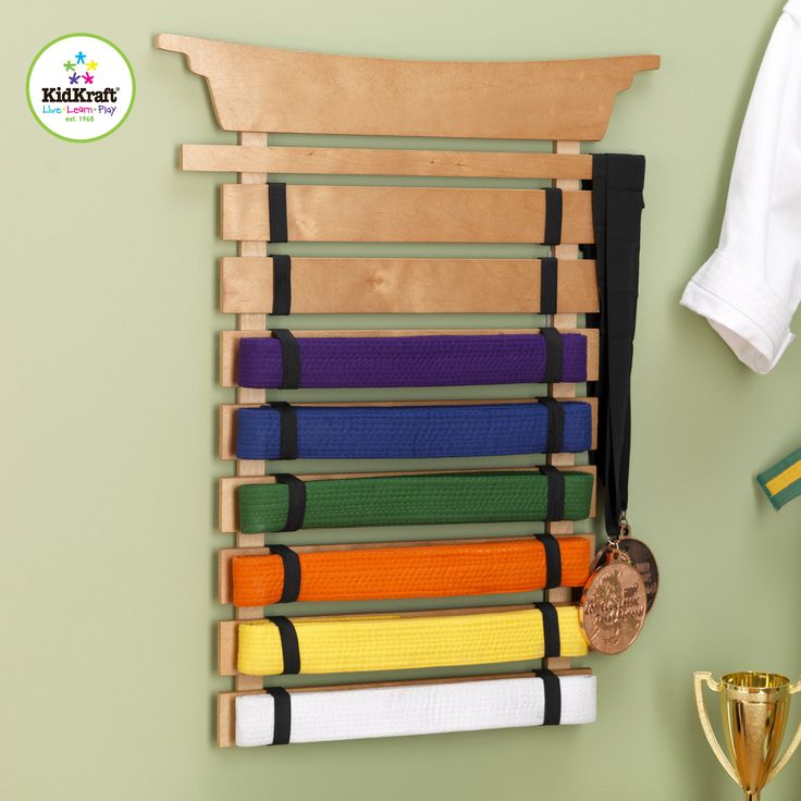 The Kidkraft Martial Arts Belt Holder is the perfect way to display Karate, Tai Kwan Do and other martial art form belts Sturdy construction Honey Finish Can be