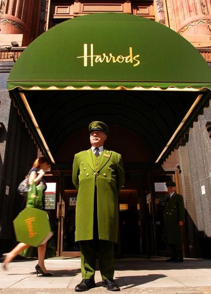 Harrods door man Have to visit Harrods food section....weird meats...