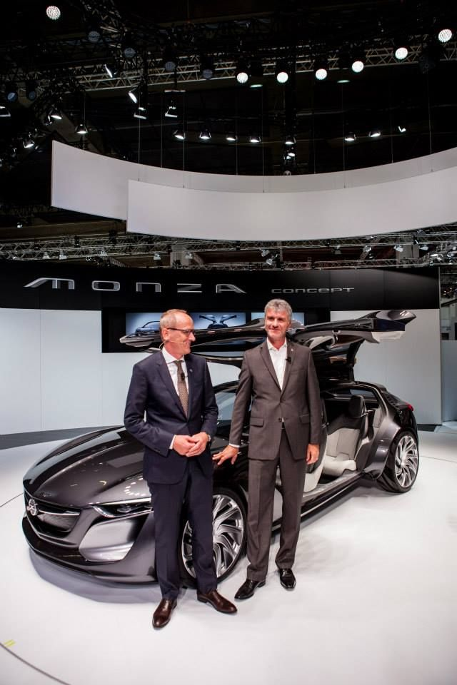 Opel CEO Karl-Thomas Neumann and GME Vice President of Design Mark Adams with the Monza Concept.