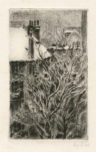 Bohuslav Reynek Motiv z Grenoblu / Motiff from Grenoble suchá jehla / dry point 12,5 x 7,6 cm, 1935, opus G 89