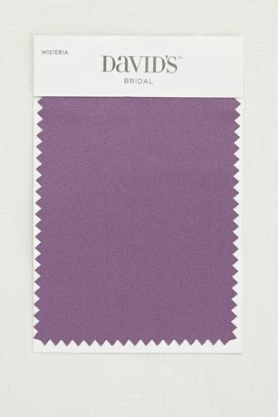 5 1/2 by 3 1/2 inch satin swatch. Available for all colors in David's Bridal's exclusive color palette. Get your color swatches to perfectly coordinate your big day!  Ships for FREE!  Fabric Swatch shown in Wisteria.