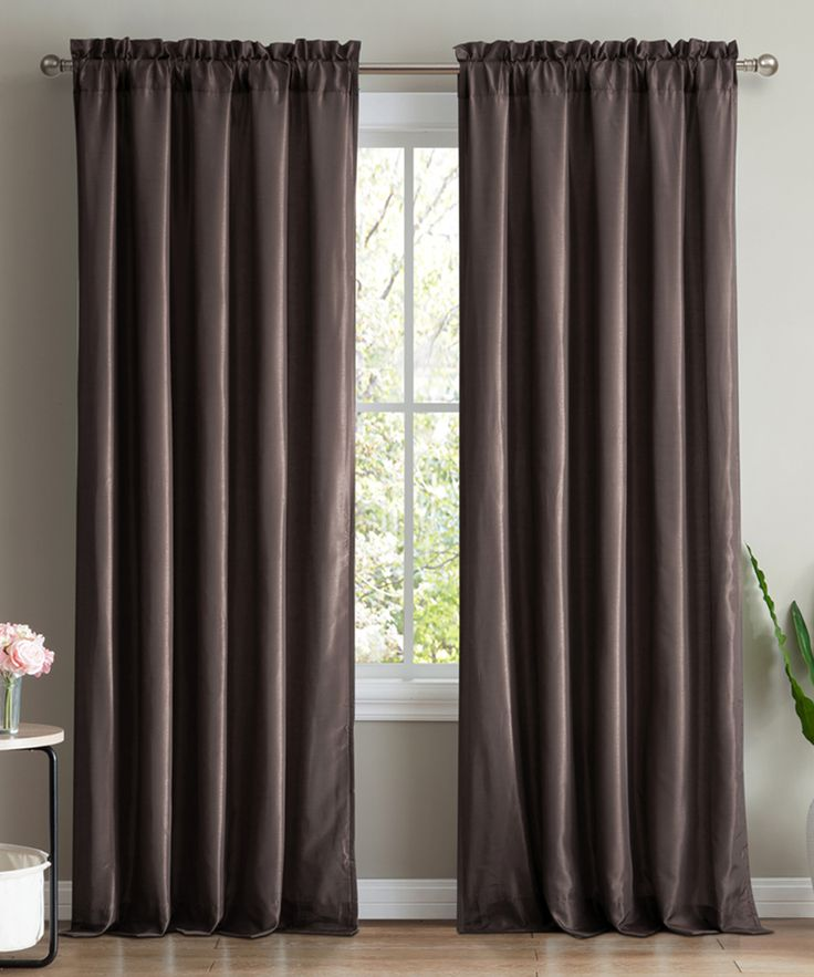 Chocolate Brown Faux Silk Lined Curtain Panel - Set of Two