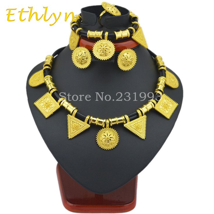 Ethlyn  Cute and New Ethiopian jewelry sets 24k Gold plated rope sets for African /Ethiopia /Eritrean Women wedding jewelry sets