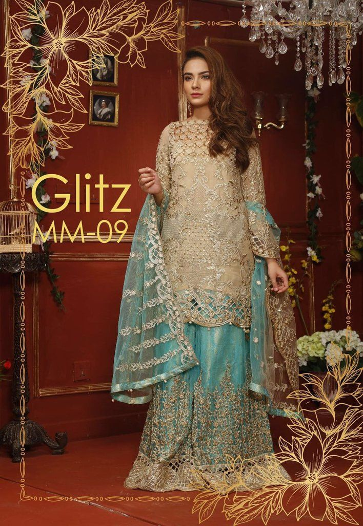 873b7ffa58 Latest Chiffon Dress by Mariam And Maira in Skin And Ferozee Turquoise  Color Online at Nameera by Farooq, With Tilla Threads Embroidery and  Cutwork with ...