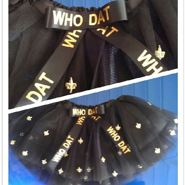 new orleans saints who dat tutu by HollieesCreations on Etsy, $15.00 www.etsy.com/shop/hollieescreations