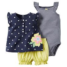 Carters Girls 3 Piece Navy Polka Dot Top with Embroidered Flower Detail, Striped Bodysuit and Yellow Diaper Cover Set - I love Carter clothing!! so cute and affordable