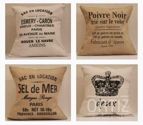 almohadon vintage 50x50 esmery caron - en lona/arpillera