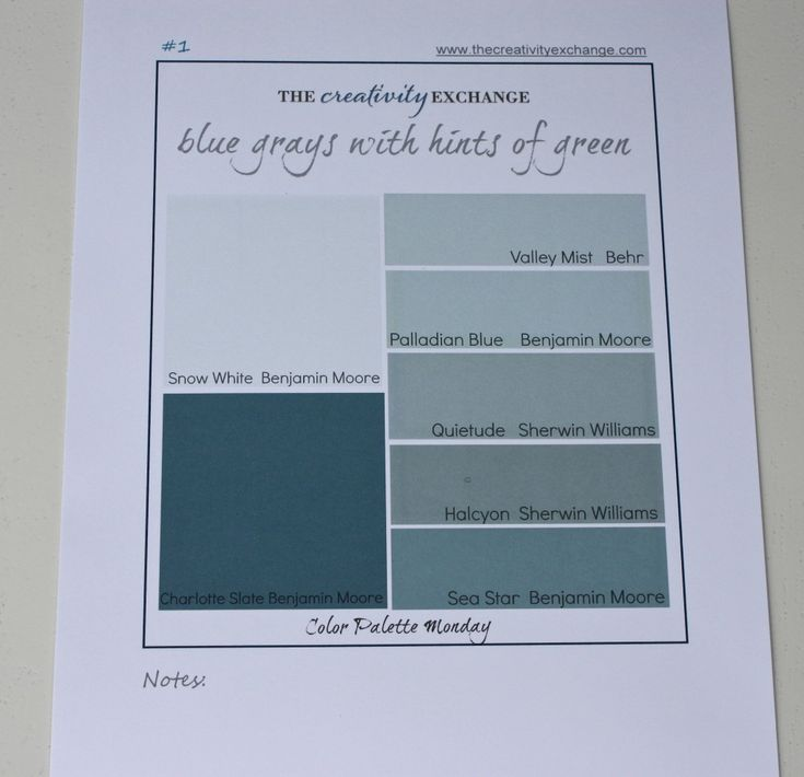 Printable color palette of great gray/blue/greens (Color Palette Monday) The Creativity Exchange