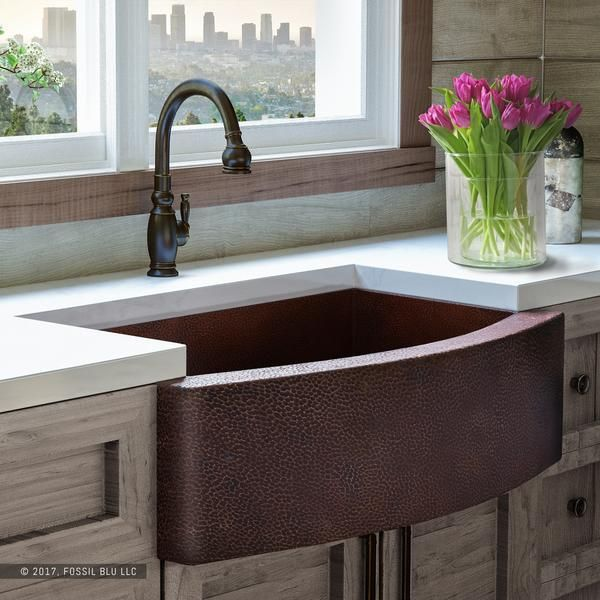 Fsw1101 Luxury 33 Inch Pure Hammered Copper Farmhouse Kitchen Sink Single Bowl With Bowed Front Sinkskitchenfarmhouse Farmhouse Sink Kitchen Copper Farmhouse Sinks Black Kitchens