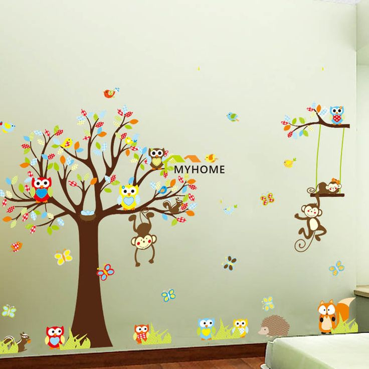 Large Size (4pcs/set) Friendly PVC Kids Wall Stickers Waterproof Cartoon Animals Tree Decals for Children Rooms Decoration