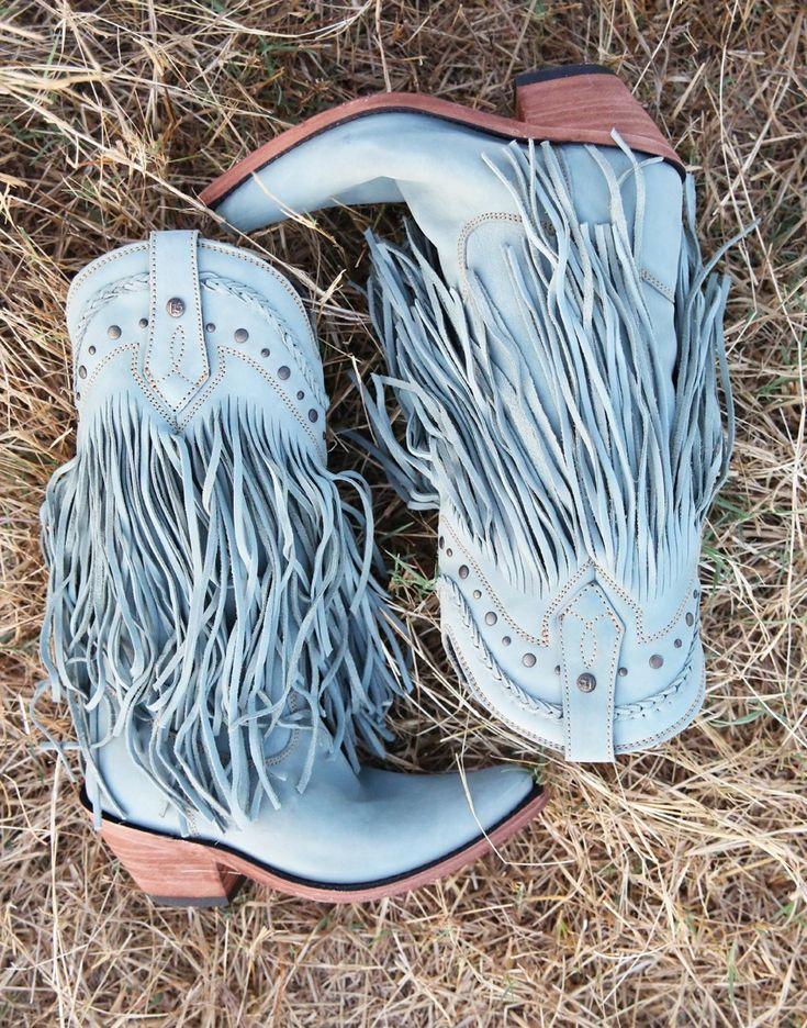 The rambler fringe boot - faded dusty blue