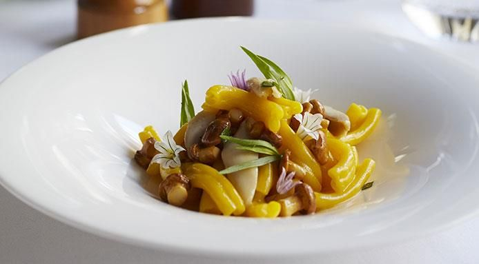 Hand Cut Strozzapreti with Pulled Rabbit, Tarragon and Parmesan by Phil Howard