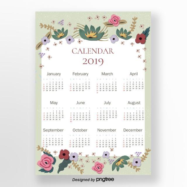 ألوان مائية الزهور الخضراء 2019 التقويم Calendar Calendar Numbers Calendar Date