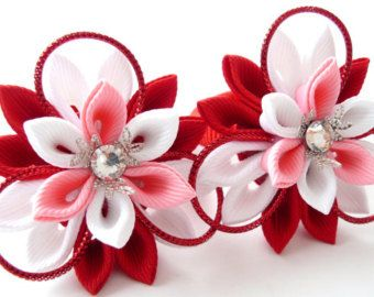 Kanzashi fabric flowers. Set of 2 ponytails . Pink and by JuLVa