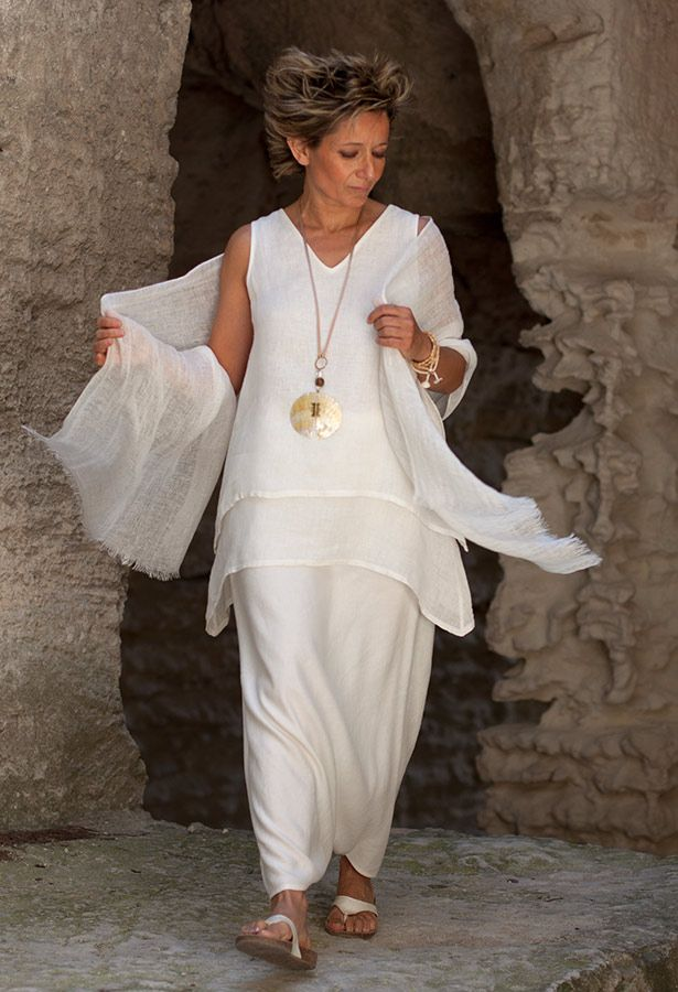 layered off white linen gauze top, mixed linen sarouel-skirt, linen gauze scarf  AMALTHEE CREATIONS