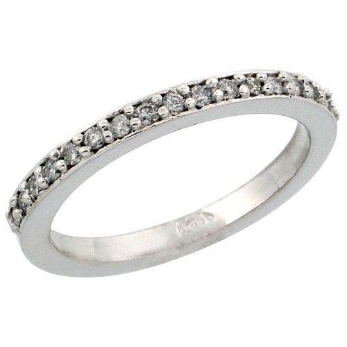 14k White Gold Ladies' Diamond Ring Band w/ 0.20 Carat Brilliant Cut Diamonds, 3/32 in. (2mm) wide, Size 6, Women's