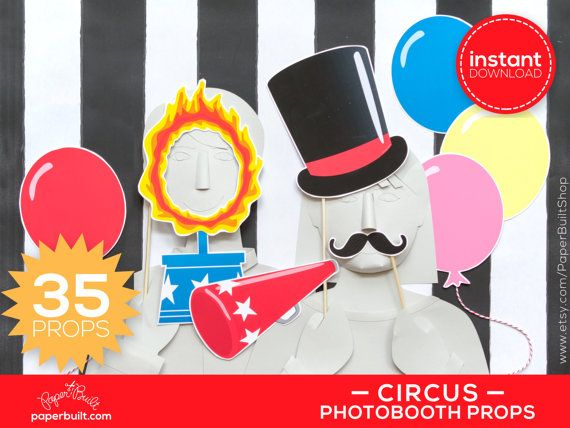 Circus Photo Booth Props Photobooth Props Circus by PaperBuiltShop