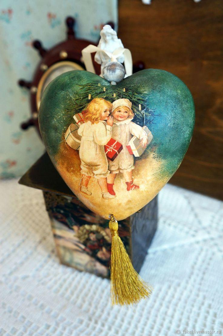Купить Винтажное сердце, Рождественское украшение в интернет магазине на Ярмарке Мастеров