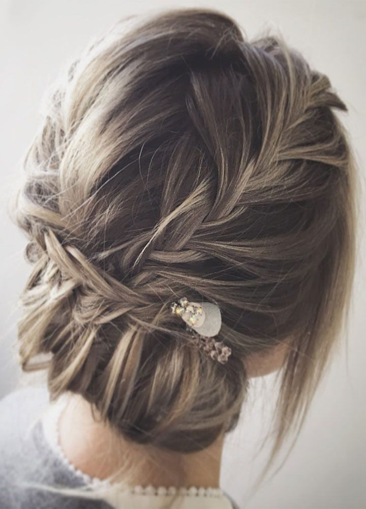 bohemian updo wedding