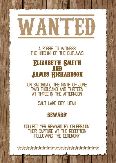 Wanted! Western Wedding Invitation Free Template printableinvitati...