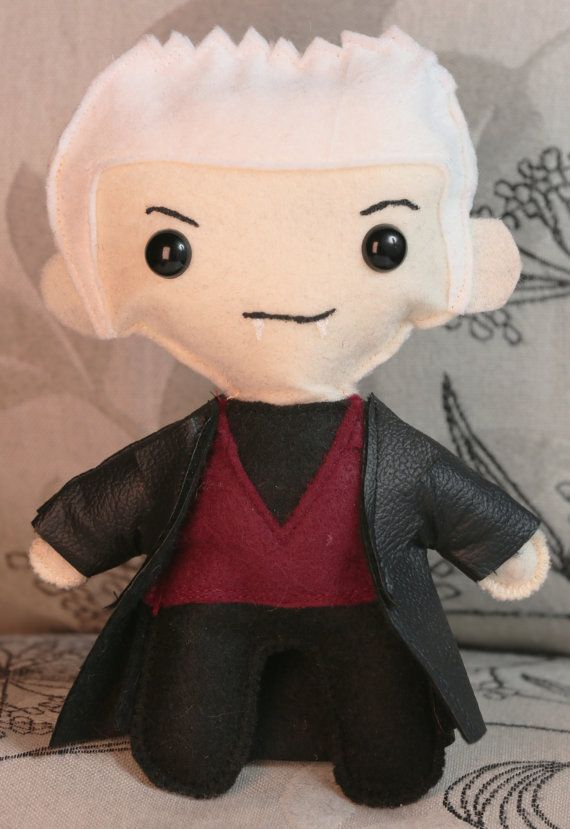 Spike from Buffy The Vampire Slayer felt doll - how cute is this? Bookshelf display!