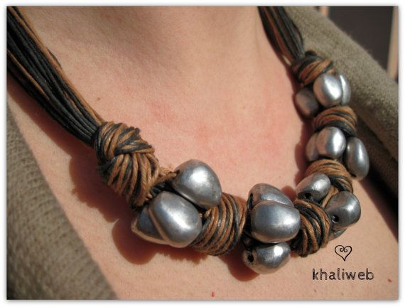 blue and light brown string necklace with 6 knots by khaliweb, $49.00