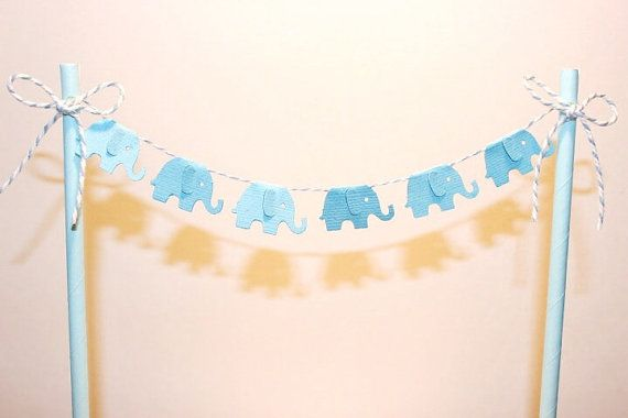 Cake Bunting/Cake Topper/Cake Banner. Blue by ConfettiCreationsAus