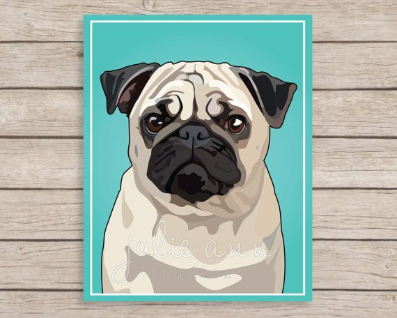 Pug Art Print- Archival art print of a cute Pug. Image is digitally created and printed on gorgeous archival art paper. Available in 5x7,