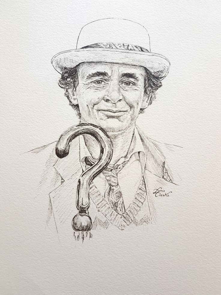 Sylvester McCoy as the 7th Doctor. Pen & Ink illustration drawn by Doris - copyright 2016. #DrWho