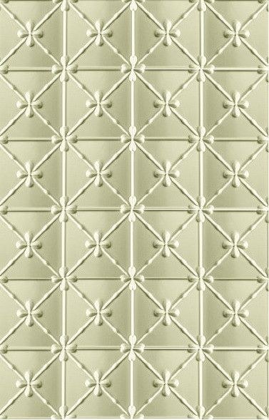 This is the Clover design. The product is aluminium and the pattern is made in two sheet sizes: 1800 mm x 600 mm and 1800 mm x 900 mm. Very affordable product. For more information on this design see: http://www.heritageceilings.com.au/tempat/clover.php