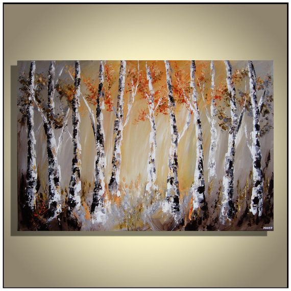 Birch tree painting, Landscape painting, Forest painting, Orange Gray Brown Painting, Original abstract painting on canvas 24 x 36 by Magier on Etsy, $265.00