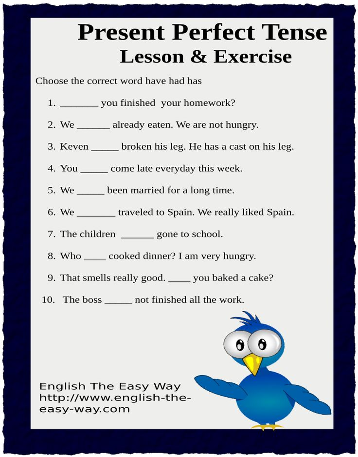 For The English Lesson Go To: http://www.english-the-easy-way.com/Present_Tense/Present_Continuous_Tense.htm  For The Answers Go To:  http://www.english-the-easy-way.com/Present_Tense/Present_Perfect_Tense_Quiz.htm