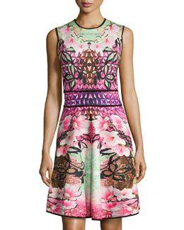 TA9PU Mackenzie Mode Printed Sleeveless Scuba Dress, Cherry Trees