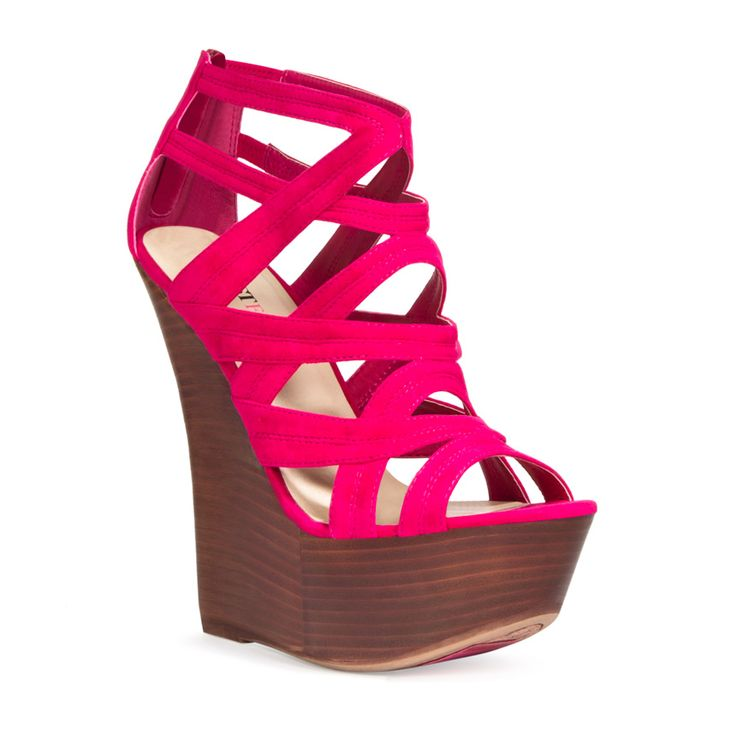 Pin to Win $500! It's getting hot in here this sky-high, sculpted wedge. Enter here: https://www.facebook.com/justfab/app_137377669785610?ref=ts