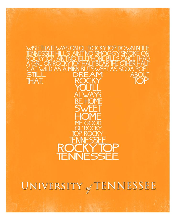 University of Tennessee Fight Song Wall Art Printable, No. 78. $5.00, via Etsy.