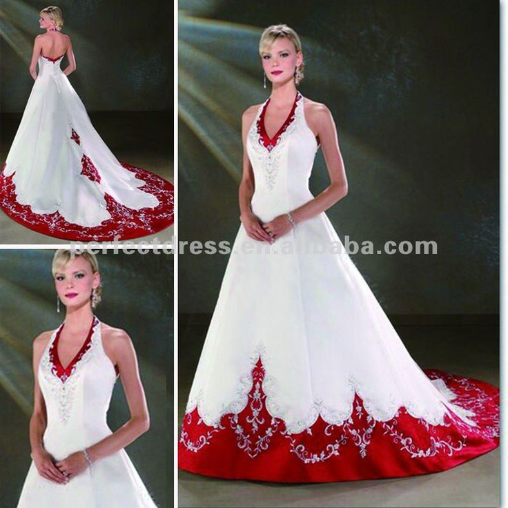 Dresses new fashion Sexy Stylish Halter red and white wedding dresses (NSW0604)