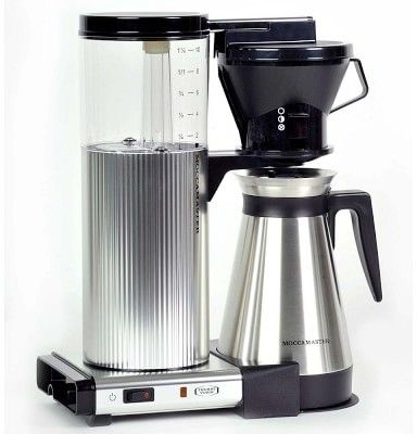 Technivorm Moccamaster Cylindrical Body Coffee Maker with Thermal Carafe, Brushed Silver