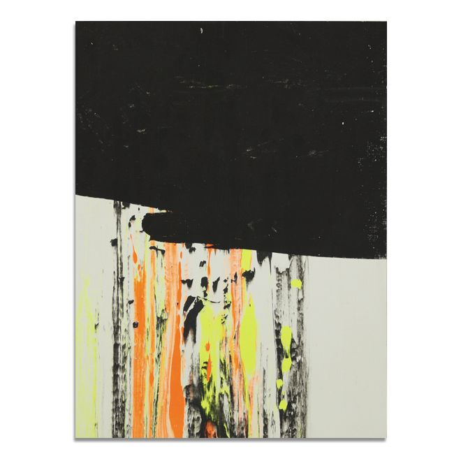 In this screenprint reminiscent of a TV glitch, Gfeller+Hellsgård partially conceal blotches and strokes of neon pigments with a layer of black paint, letting light and dark struggle for domination of the wooden support.  ▫️ GFELLER + HELLSGÄRD PSYCHIC FIRE, 2016 ▫️ Screenprint on wood. 33 x 25 x 2 cm. Signed on the verso. $400