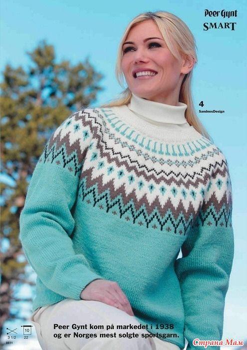 Красивый свитер с жаккардовой кокеткой