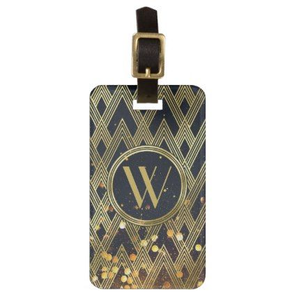 Art Deco Glamorous Geometric Pattern Monogram Luggage Tag - glitter gifts personalize gift ideas unique