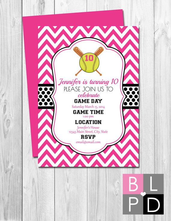 Softball Birthday Party Invitation  Pink and by BeccaLeePaperie