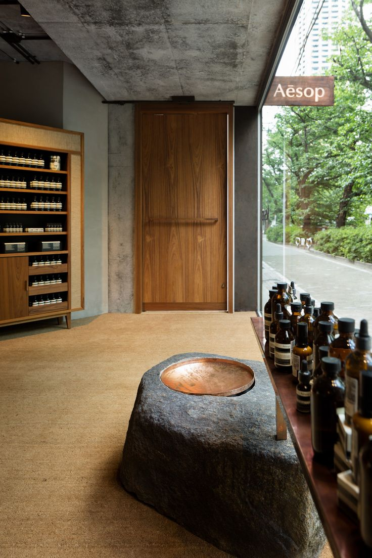 Might buy products from Aesop. Like: natural materials, rough hewn