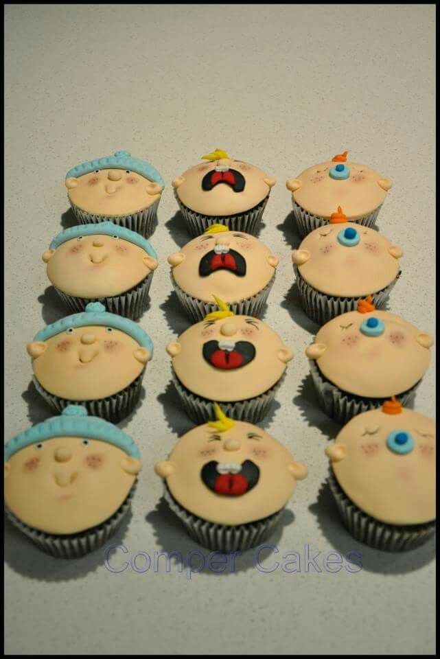 Baby faces cupcakes