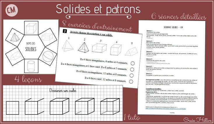 Solides et patrons CM   Mathématiques pour enfants, Géométrie cm2 et Solide