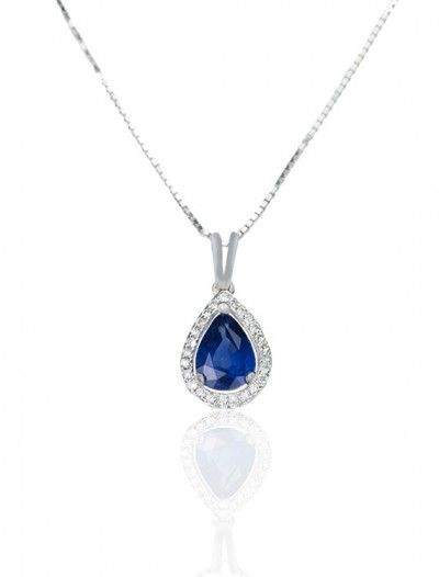 18ct White Gold Sapphire & Diamond Necklace - Available at Onyx Goldsmiths