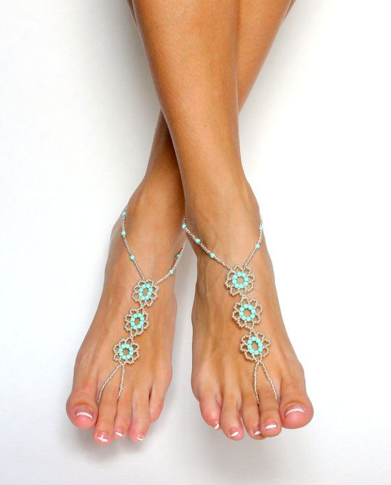Mint Green Barefoot Sandals Beach Wedding Sandals Foot Jewelry Beaded Anklet for Your Destination Wedding