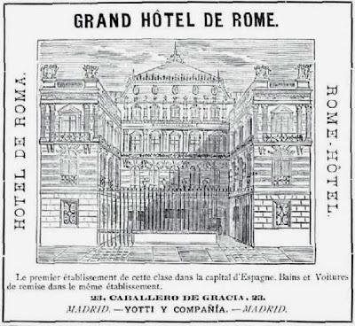 """Fachada del """"Hotel de Roma"""" http://elpaisajedemadrid.blogspot.com.es/2013/05/el-desaparecido-hotel-de-roma-y-el.html"""