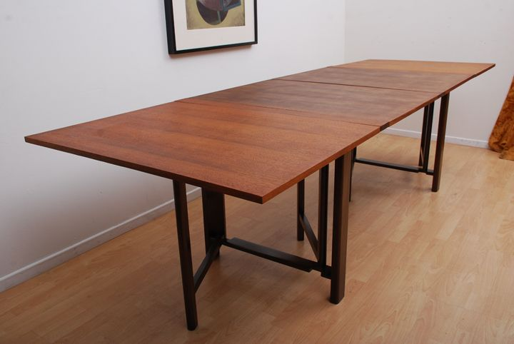 Bruno mathsson teak folding dining table design ideas for Folding dining room table