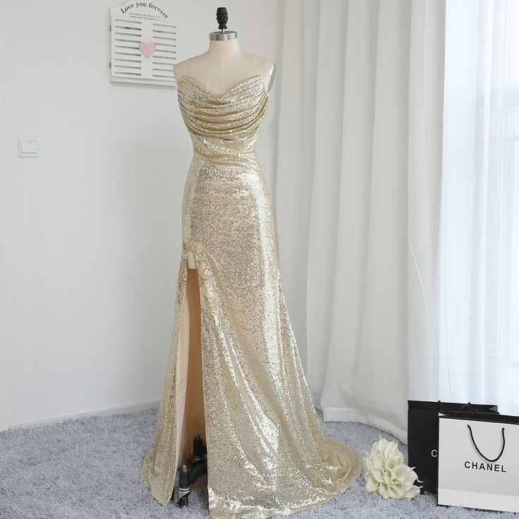 Sweetheart Champagne Sequins Slit Backless Mermaid Wedding Party Bridesmaid Dress - Uniqistic.com
