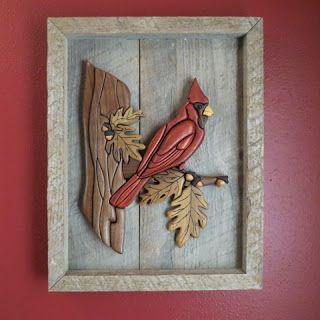 Cardinal - Wood Intarsia mounted on barn board frame Arts by the Kickapoo